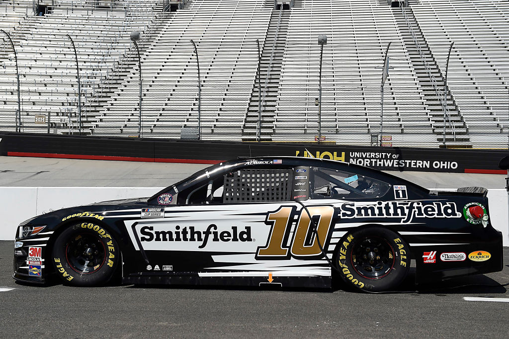 BRISTOL, TENNESSEE - JULY 15:  The #10 Smithfield Ford, driven by Aric Almirola, sits on the grid prior to the NASCAR Cup Series All-Star Race at Bristol Motor Speedway on July 15, 2020 in Bristol, Tennessee. (Photo by Jared C. Tilton/Getty Images) | Getty Images