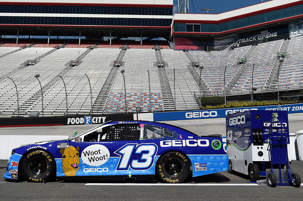 BRISTOL, TENNESSEE - JULY 15:  The #13 GEICO Hump Day Chevrolet, driven by Ty Dillon, sits on the grid prior to the NASCAR Cup Series All-Star Race at Bristol Motor Speedway on July 15, 2020 in Bristol, Tennessee. (Photo by Jared C. Tilton/Getty Images) | Getty Images