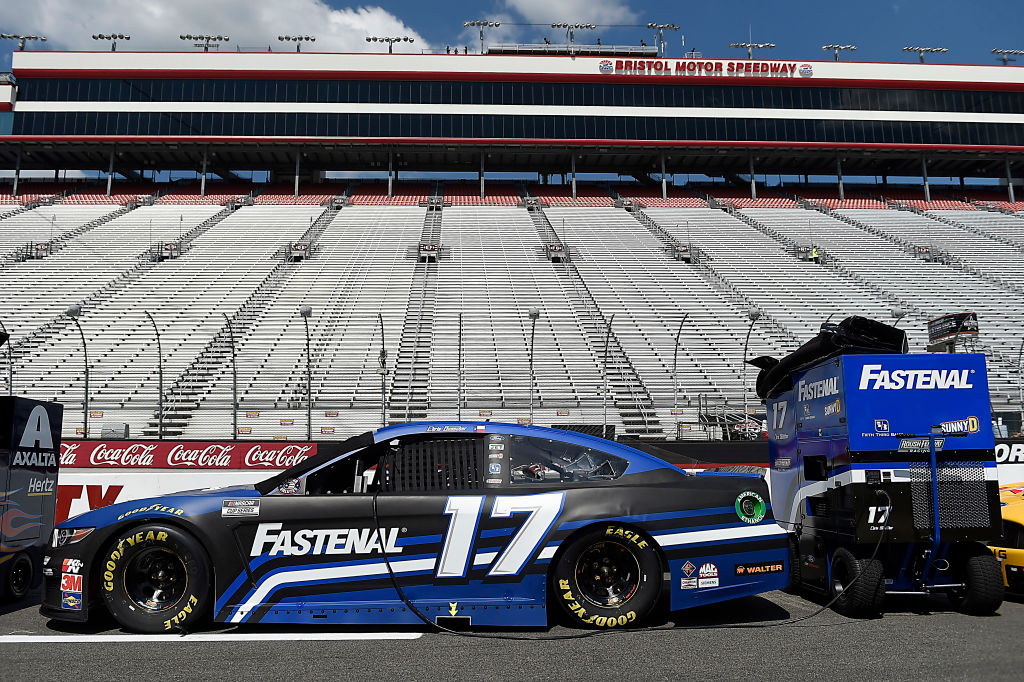BRISTOL, TENNESSEE - JULY 15:  The #17 Fastenal Ford, driven by Chris Buescher, sits on the grid prior to the NASCAR Cup Series All-Star Race at Bristol Motor Speedway on July 15, 2020 in Bristol, Tennessee. (Photo by Jared C. Tilton/Getty Images) | Getty Images