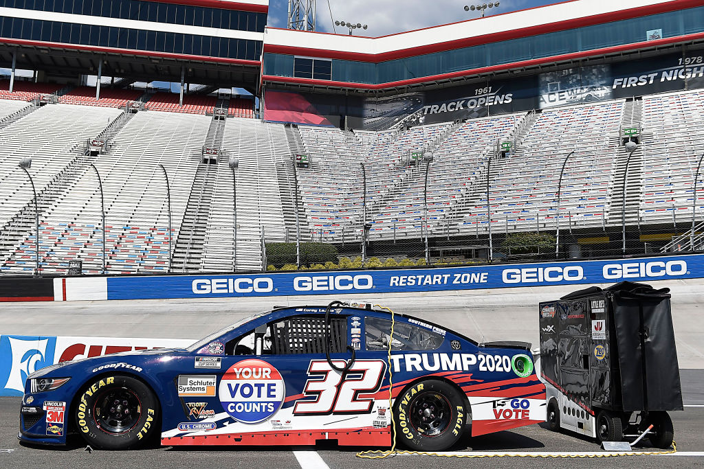 BRISTOL, TENNESSEE - JULY 15:  The #32 Trump 2020 Ford, driven by Corey LaJoie, sits on the grid prior to the NASCAR Cup Series All-Star Race at Bristol Motor Speedway on July 15, 2020 in Bristol, Tennessee. (Photo by Jared C. Tilton/Getty Images) | Getty Images