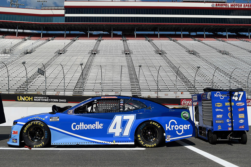 BRISTOL, TENNESSEE - JULY 15:  The #47 Kroger/Cottonelle Chevrolet, driven by Ricky Stenhouse Jr., sits on the grid prior to the NASCAR Cup Series All-Star Race at Bristol Motor Speedway on July 15, 2020 in Bristol, Tennessee. (Photo by Jared C. Tilton/Getty Images) | Getty Images