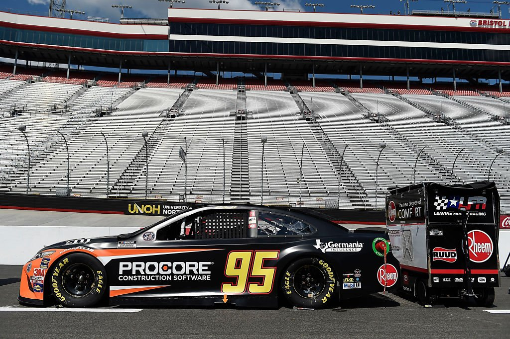 BRISTOL, TENNESSEE - JULY 15:  The #95 Procore Toyota, driven by Christopher Bell, sits on the grid prior to the NASCAR Cup Series All-Star Race at Bristol Motor Speedway on July 15, 2020 in Bristol, Tennessee. (Photo by Jared C. Tilton/Getty Images) | Getty Images