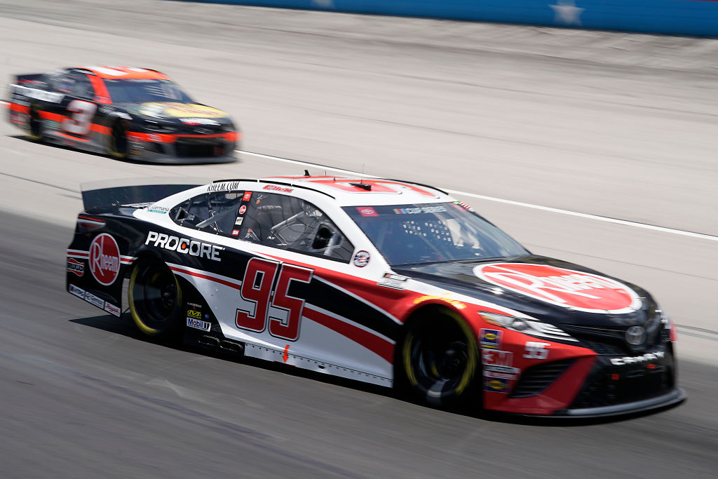 FORT WORTH, TEXAS - JULY 19: Christopher Bell, driver of the #95 Rheem Toyota, races Austin Dillon, driver of the #3 Bass Pro Shops Chevrolet, during the NASCAR Cup Series O'Reilly Auto Parts 500 at Texas Motor Speedway on July 19, 2020 in Fort Worth, Texas. (Photo by Cooper Neill/Getty Images)