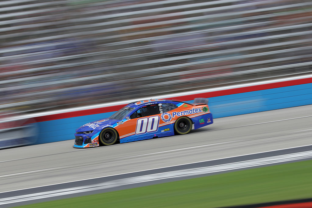 FORT WORTH, TEXAS - JULY 19: Quin Houff, driver of the #00 Permatex Chevrolet, races during the NASCAR Cup Series O'Reilly Auto Parts 500 at Texas Motor Speedway on July 19, 2020 in Fort Worth, Texas. (Photo by Chris Graythen/Getty Images) | Getty Images