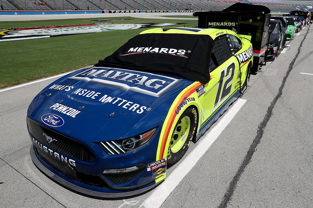 FORT WORTH, TEXAS - JULY 19: The #12 Menards/Maytag Ford, driven by Ryan Blaney, waits on the grid prior to the NASCAR Cup Series O'Reilly Auto Parts 500 at Texas Motor Speedway on July 19, 2020 in Fort Worth, Texas. (Photo by Chris Graythen/Getty Images) | Getty Images