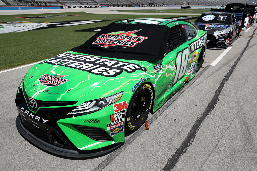 FORT WORTH, TEXAS - JULY 19: The #18 Interstate Batteries Toyota, driven by Kyle Busch, waits on the grid prior to the NASCAR Cup Series O'Reilly Auto Parts 500 at Texas Motor Speedway on July 19, 2020 in Fort Worth, Texas. (Photo by Chris Graythen/Getty Images) | Getty Images