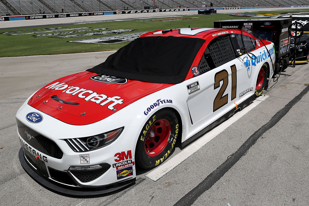 FORT WORTH, TEXAS - JULY 19: The #21 Motorcraft/Quick Lane Ford, driven by Matt DiBenedetto, waits on the grid prior to the NASCAR Cup Series O'Reilly Auto Parts 500 at Texas Motor Speedway on July 19, 2020 in Fort Worth, Texas. (Photo by Chris Graythen/Getty Images) | Getty Images