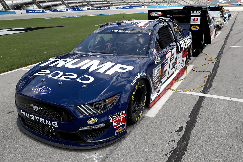 FORT WORTH, TEXAS - JULY 19: The #32 Trump 2020 Ford, driven by Corey LaJoie, waits on the grid prior to the NASCAR Cup Series O'Reilly Auto Parts 500 at Texas Motor Speedway on July 19, 2020 in Fort Worth, Texas. (Photo by Chris Graythen/Getty Images) | Getty Images