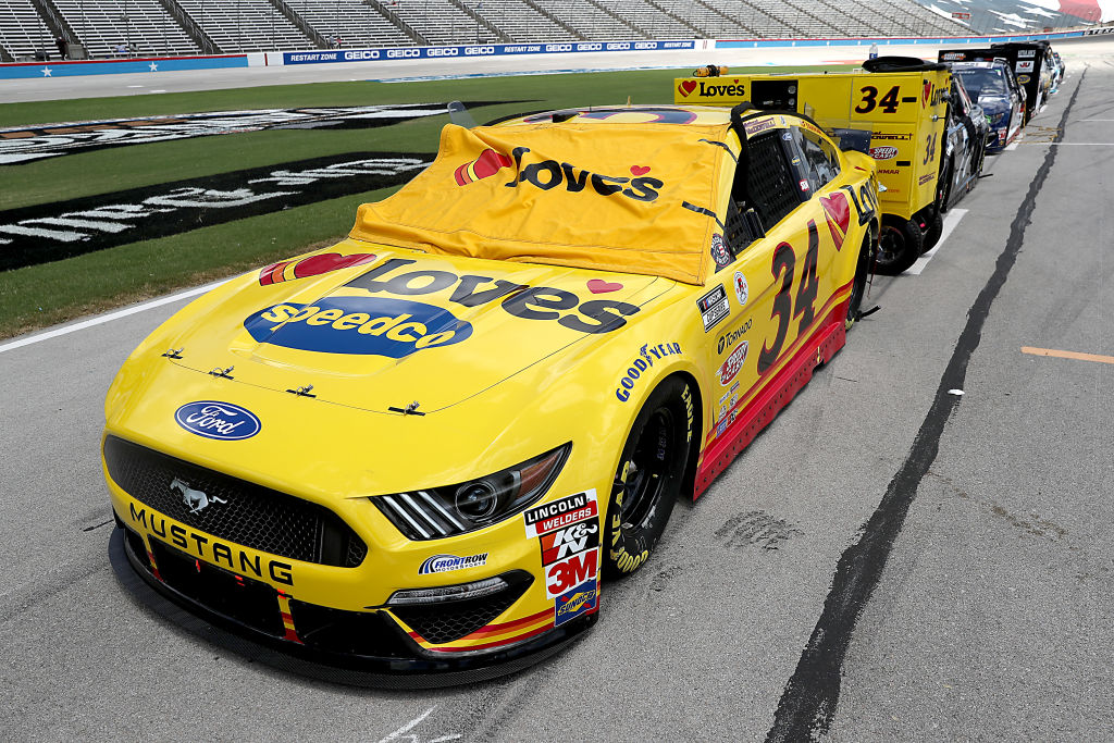 FORT WORTH, TEXAS - JULY 19: The #34 Love's Travel Stops Ford, driven by Michael McDowell, waits on the grid prior to the NASCAR Cup Series O'Reilly Auto Parts 500 at Texas Motor Speedway on July 19, 2020 in Fort Worth, Texas. (Photo by Chris Graythen/Getty Images) | Getty Images