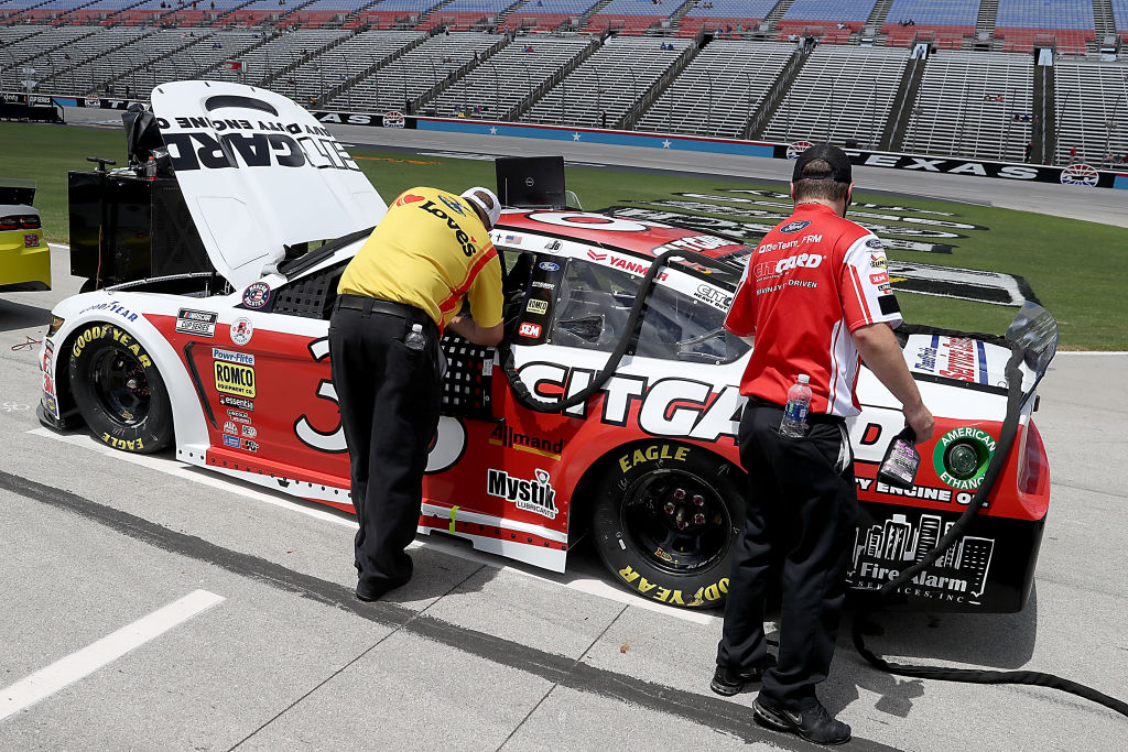 FORT WORTH, TEXAS - JULY 19: The #38 Citgard Heavy Duty Engine Oil Ford, driven by John H. Nemechek, waits on the grid prior to the NASCAR Cup Series O'Reilly Auto Parts 500 at Texas Motor Speedway on July 19, 2020 in Fort Worth, Texas. (Photo by Chris Graythen/Getty Images)   Getty Images