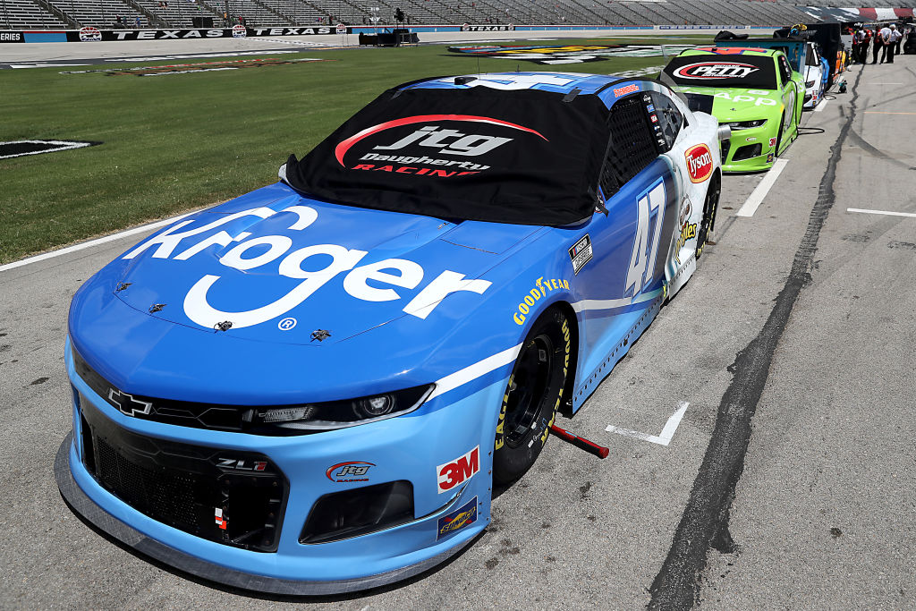 FORT WORTH, TEXAS - JULY 19: The #47 Kroger Chevrolet, driven by Ricky Stenhouse Jr., waits on the grid prior to the NASCAR Cup Series O'Reilly Auto Parts 500 at Texas Motor Speedway on July 19, 2020 in Fort Worth, Texas. (Photo by Chris Graythen/Getty Images) | Getty Images