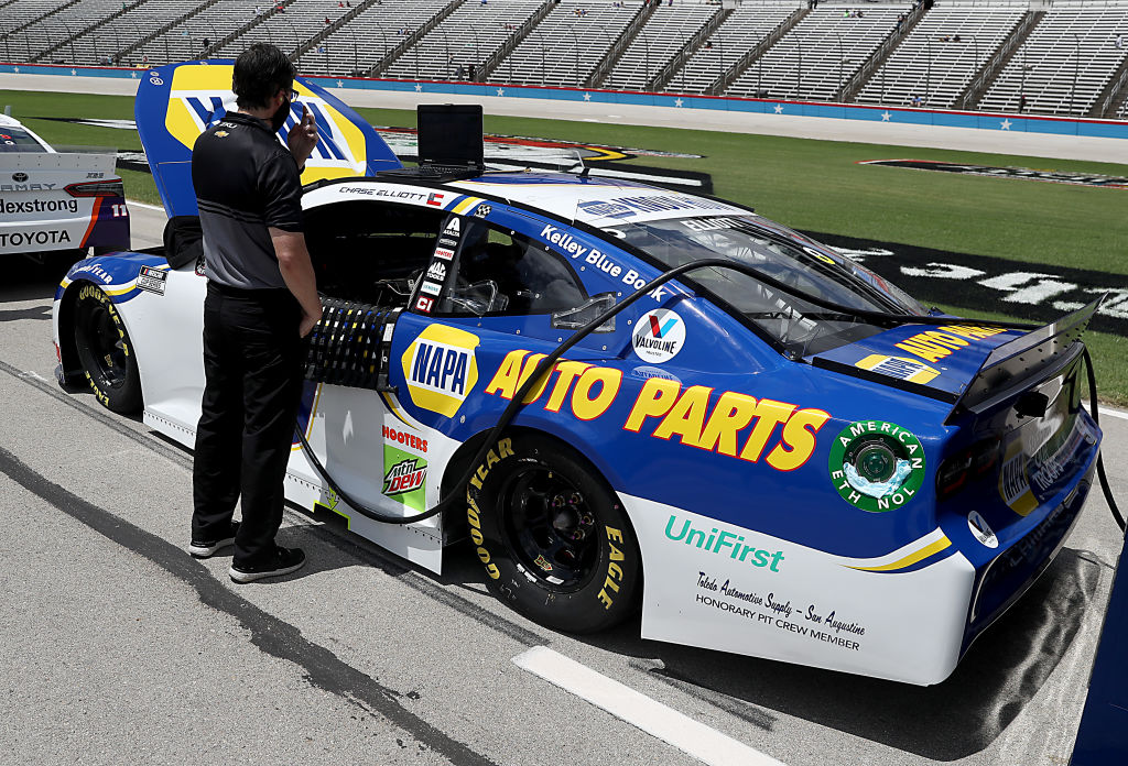 FORT WORTH, TEXAS - JULY 19: The #9 NAPA Auto Parts Chevrolet, driven by Chase Elliott, waits on the grid prior to the NASCAR Cup Series O'Reilly Auto Parts 500 at Texas Motor Speedway on July 19, 2020 in Fort Worth, Texas. (Photo by Chris Graythen/Getty Images) | Getty Images