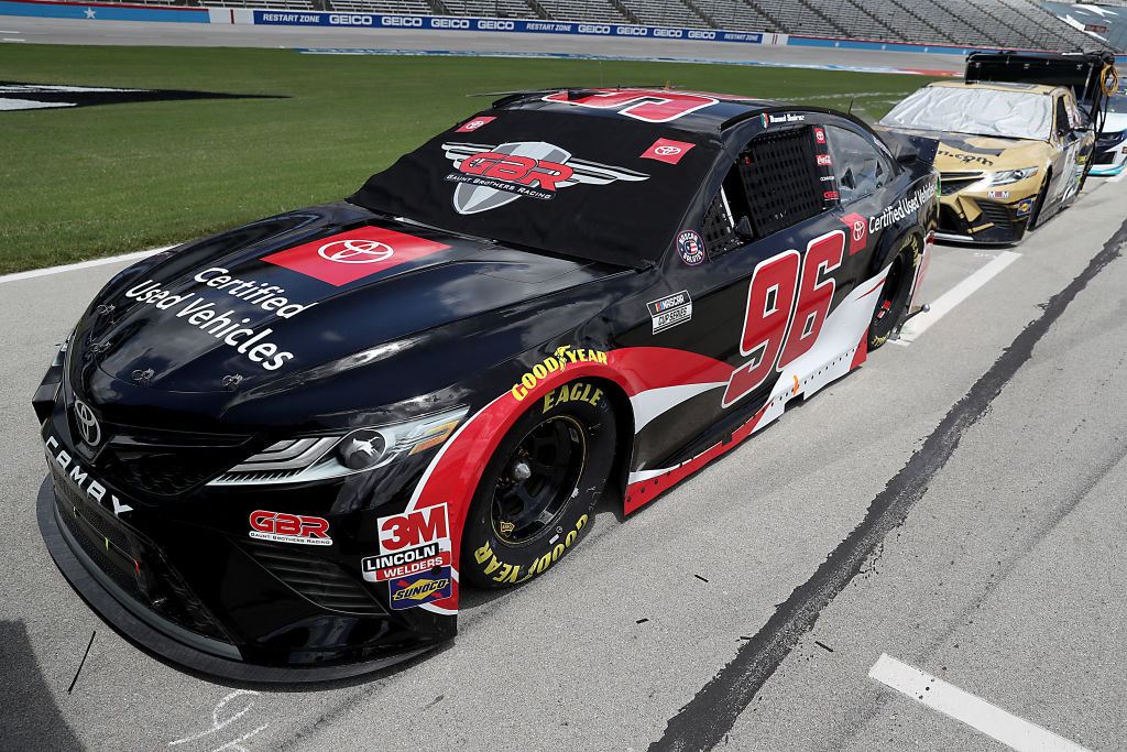 FORT WORTH, TEXAS - JULY 19: The #96 Toyota Used Certified Vehicles Toyota, driven by Daniel Suarez, waits on the grid prior to the NASCAR Cup Series O'Reilly Auto Parts 500 at Texas Motor Speedway on July 19, 2020 in Fort Worth, Texas. (Photo by Chris Graythen/Getty Images) | Getty Images