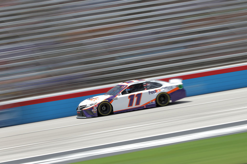 FORT WORTH, TEXAS - JULY 19: Denny Hamlin, driver of the #11 FedEx Office Toyota, races during the NASCAR Cup Series O'Reilly Auto Parts 500 at Texas Motor Speedway on July 19, 2020 in Fort Worth, Texas. (Photo by Chris Graythen/Getty Images) | Getty Images