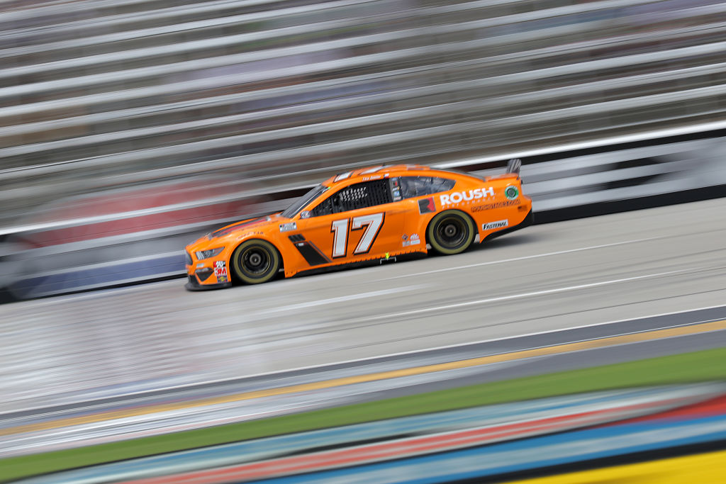 FORT WORTH, TEXAS - JULY 19: Chris Buescher, driver of the #17 Roush Performance Stage 3 Ford, races during the NASCAR Cup Series O'Reilly Auto Parts 500 at Texas Motor Speedway on July 19, 2020 in Fort Worth, Texas. (Photo by Chris Graythen/Getty Images) | Getty Images
