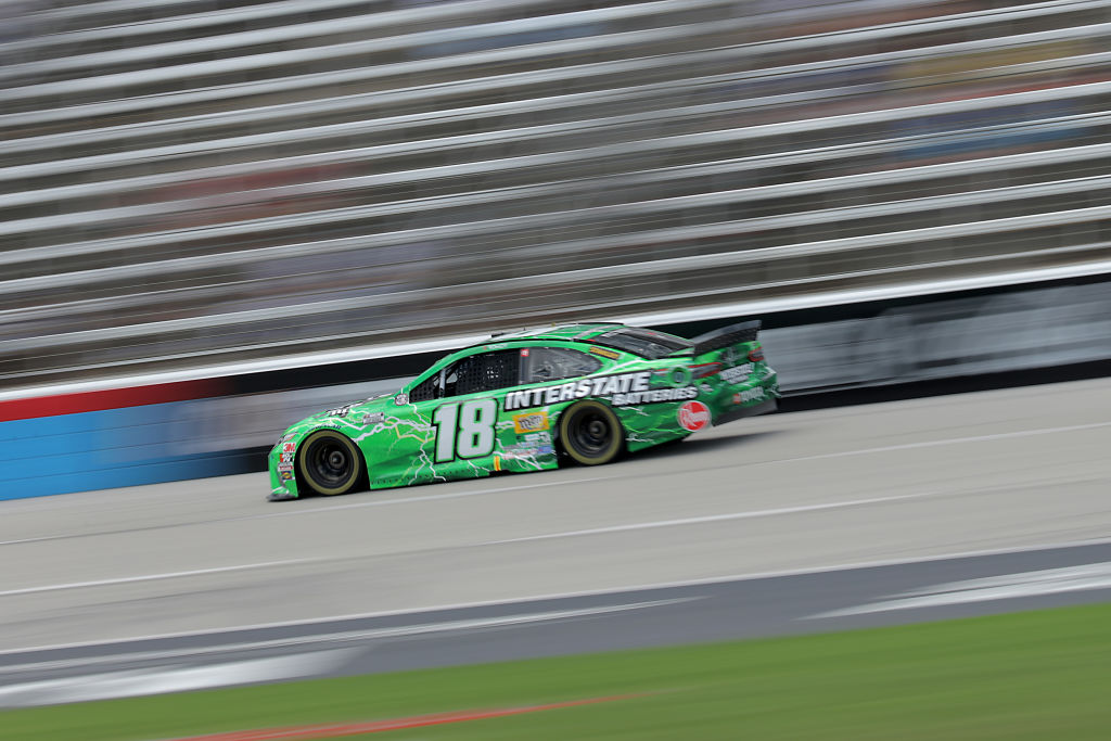 FORT WORTH, TEXAS - JULY 19: Kyle Busch, driver of the #18 Interstate Batteries Toyota, races during the NASCAR Cup Series O'Reilly Auto Parts 500 at Texas Motor Speedway on July 19, 2020 in Fort Worth, Texas. (Photo by Chris Graythen/Getty Images) | Getty Images