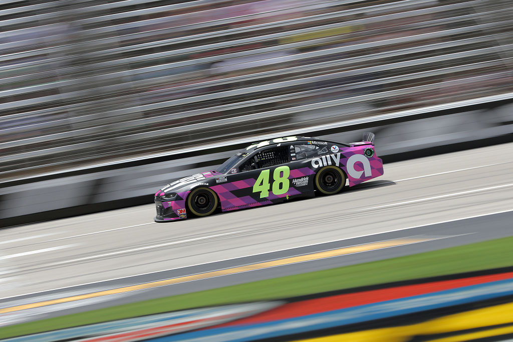 FORT WORTH, TEXAS - JULY 19: Jimmie Johnson, driver of the #48 Ally Chevrolet, races during the NASCAR Cup Series O'Reilly Auto Parts 500 at Texas Motor Speedway on July 19, 2020 in Fort Worth, Texas. (Photo by Chris Graythen/Getty Images) | Getty Images