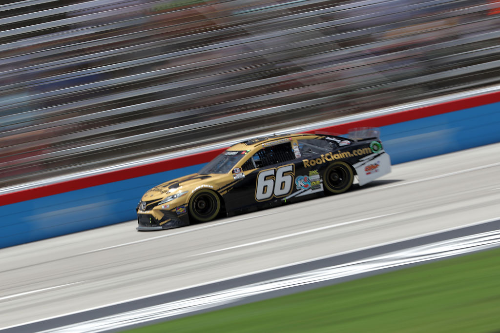 FORT WORTH, TEXAS - JULY 19: Timmy Hill, driver of the #66 RoofClaim.com Toyota, races during the NASCAR Cup Series O'Reilly Auto Parts 500 at Texas Motor Speedway on July 19, 2020 in Fort Worth, Texas. (Photo by Chris Graythen/Getty Images) | Getty Images