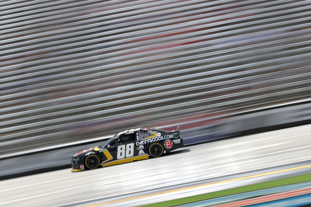 FORT WORTH, TEXAS - JULY 19: Alex Bowman, driver of the #88 ChevyGoods.com/Adam's Polishes Chevrolet, races during the NASCAR Cup Series O'Reilly Auto Parts 500 at Texas Motor Speedway on July 19, 2020 in Fort Worth, Texas. (Photo by Chris Graythen/Getty Images) | Getty Images