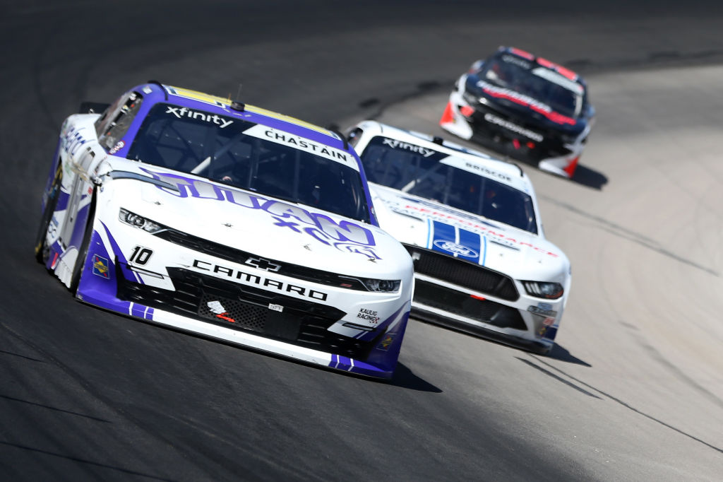 FORT WORTH, TEXAS - JULY 18: Ross Chastain, driver of the #10 Nutrien Ag Solutions/Titan XC Chevrolet, drives during the NASCAR Xfinity Series Bariatric Solutions 300 at Texas Motor Speedway on July 18, 2020 in Fort Worth, Texas. (Photo by Brian Lawdermilk/Getty Images) | Getty Images