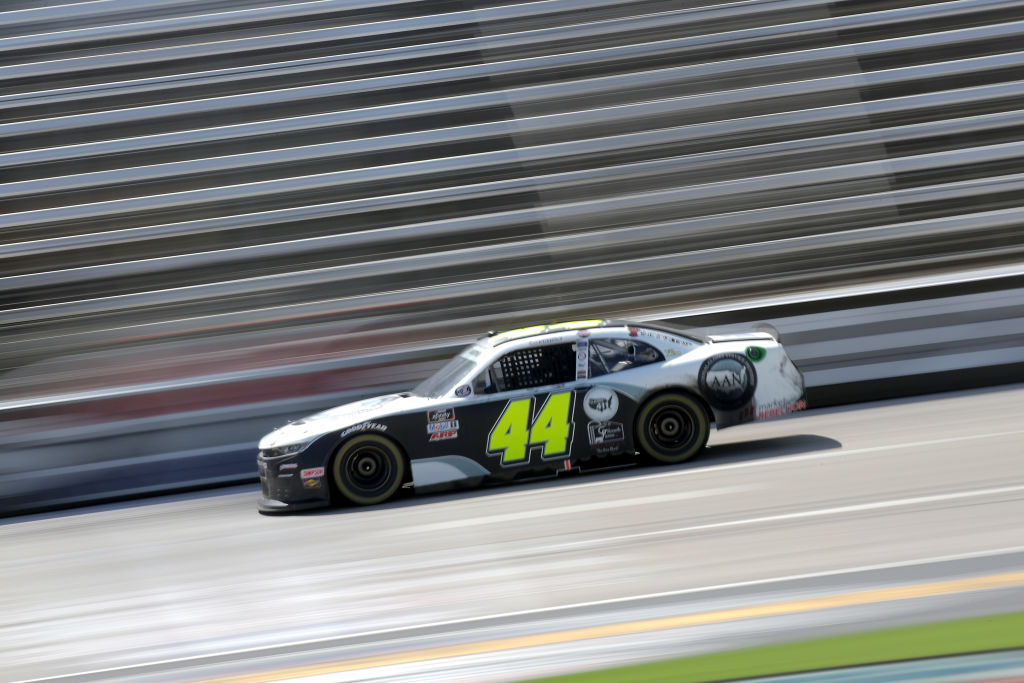FORT WORTH, TEXAS - JULY 18: Tommy Joe Martins, driver of the #44 AAN Adjusters Chevrolet, races during the NASCAR Xfinity Series Bariatric Solutions 300 at Texas Motor Speedway on July 18, 2020 in Fort Worth, Texas. (Photo by Chris Graythen/Getty Images) | Getty Images