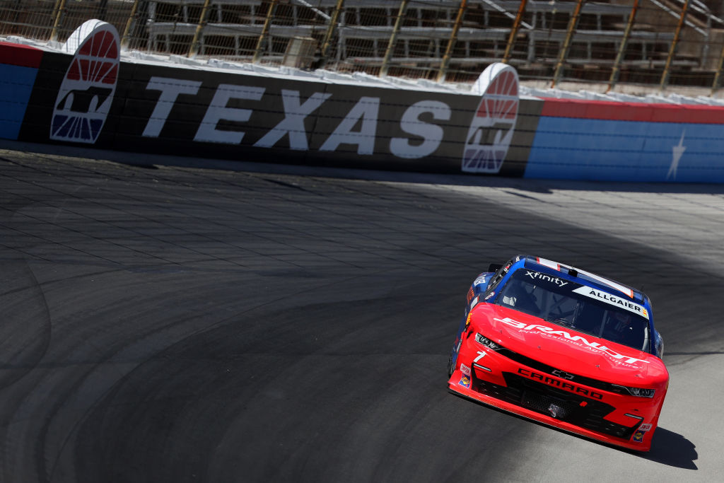 FORT WORTH, TEXAS - JULY 18: Justin Allgaier, driver of the #7 BRANDT/Tracker Technologies Chevrolet, races during the NASCAR Xfinity Series Bariatric Solutions 300 at Texas Motor Speedway on July 18, 2020 in Fort Worth, Texas. (Photo by Tom Pennington/Getty Images) | Getty Images