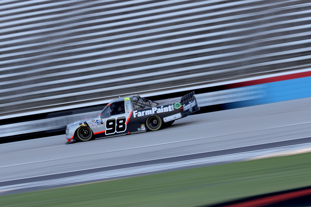 FORT WORTH, TEXAS - JULY 18: Grant Enfinger, driver of the #98 Ford, races during the NASCAR Gander RV & Outdoors Truck Series Vankor 350 at Texas Motor Speedway on July 18, 2020 in Fort Worth, Texas. (Photo by Chris Graythen/Getty Images) | Getty Images