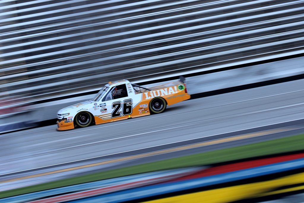 FORT WORTH, TEXAS - JULY 18: Tyler Ankrum, driver of the #26 Liuna! Chevrolet, races during the NASCAR Gander RV & Outdoors Truck Series Vankor 350 at Texas Motor Speedway on July 18, 2020 in Fort Worth, Texas. (Photo by Chris Graythen/Getty Images) | Getty Images