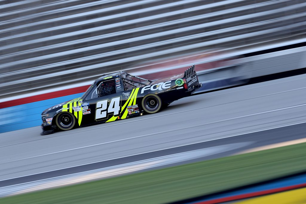 FORT WORTH, TEXAS - JULY 18: Justin Haley, driver of the #24 FOE Chevrolet, races during the NASCAR Gander RV & Outdoors Truck Series Vankor 350 at Texas Motor Speedway on July 18, 2020 in Fort Worth, Texas. (Photo by Chris Graythen/Getty Images) | Getty Images