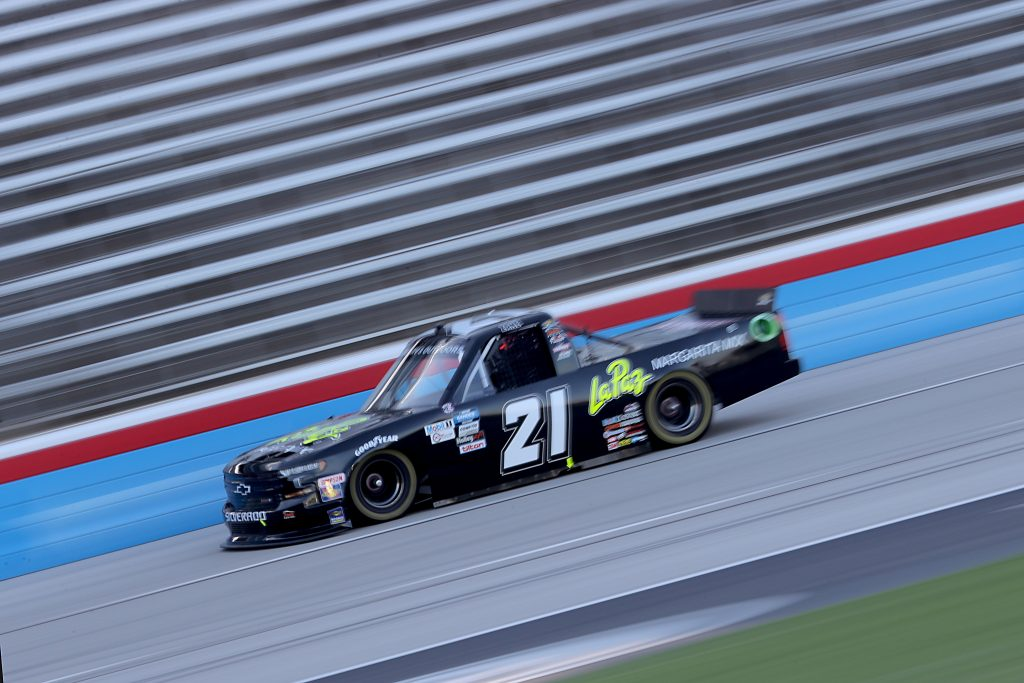 FORT WORTH, TEXAS - JULY 18: Zane Smith, driver of the #21 LaPaz Margarita Mix Chevrolet, races during the NASCAR Gander RV & Outdoors Truck Series Vankor 350 at Texas Motor Speedway on July 18, 2020 in Fort Worth, Texas. (Photo by Chris Graythen/Getty Images) | Getty Images