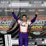 KANSAS CITY, KANSAS - JULY 23: Denny Hamlin, driver of the #11 FedEx Office Toyota, celebrates in Victory Lane after winning the NASCAR Cup Series Super Start Batteries 400 Presented by O'Reilly Auto Parts at Kansas Speedway on July 23, 2020 in Kansas City, Kansas. (Photo by Jamie Squire/Getty Images) | Getty Images