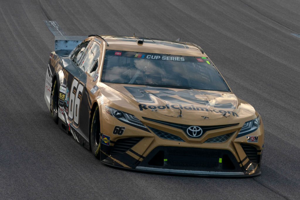 KANSAS CITY, KANSAS - JULY 23: Timmy Hill, driver of the #66 RoofClaim.com Toyota, drives during the NASCAR Cup Series Super Start Batteries 400 Presented by O'Reilly Auto Parts at Kansas Speedway on July 23, 2020 in Kansas City, Kansas. (Photo by Kyle Rivas/Getty Images) | Getty Images