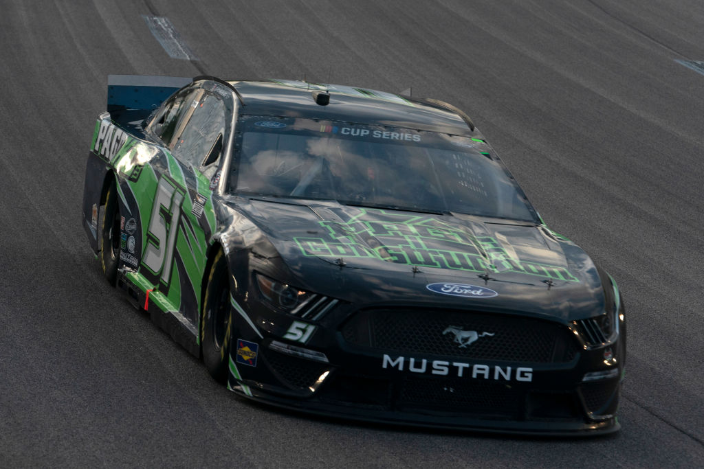 KANSAS CITY, KANSAS - JULY 23: Joey Gase, driver of the #51 Page Construction Ford, drives during the NASCAR Cup Series Super Start Batteries 400 Presented by O'Reilly Auto Parts at Kansas Speedway on July 23, 2020 in Kansas City, Kansas. (Photo by Kyle Rivas/Getty Images) | Getty Images