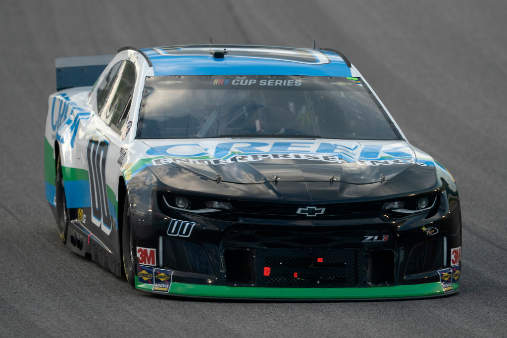 KANSAS CITY, KANSAS - JULY 23: Quin Houff, driver of the #00 Creek Enterprises Inc. Chevrolet, drives during the NASCAR Cup Series Super Start Batteries 400 Presented by O'Reilly Auto Parts at Kansas Speedway on July 23, 2020 in Kansas City, Kansas. (Photo by Kyle Rivas/Getty Images)   Getty Images