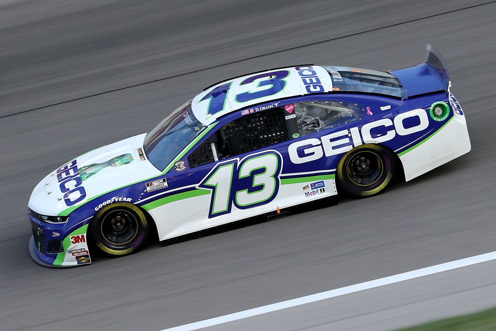 KANSAS CITY, KANSAS - JULY 23: Ty Dillon, driver of the #13 GEICO Chevrolet, drives during the NASCAR Cup Series Super Start Batteries 400 Presented by O'Reilly Auto Parts at Kansas Speedway on July 23, 2020 in Kansas City, Kansas. (Photo by Jamie Squire/Getty Images)   Getty Images