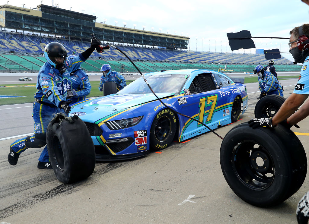 KANSAS CITY, KANSAS - JULY 23: Chris Buescher, driver of the #17 Fifth Third Bank Ford, pits during the NASCAR Cup Series Super Start Batteries 400 Presented by O'Reilly Auto Parts at Kansas Speedway on July 23, 2020 in Kansas City, Kansas. (Photo by Jamie Squire/Getty Images) | Getty Images