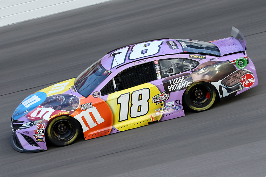 KANSAS CITY, KANSAS - JULY 23: Kyle Busch, driver of the #18 M&M's Fudge Brownie Toyota, drives during the NASCAR Cup Series Super Start Batteries 400 Presented by O'Reilly Auto Parts at Kansas Speedway on July 23, 2020 in Kansas City, Kansas. (Photo by Jamie Squire/Getty Images) | Getty Images