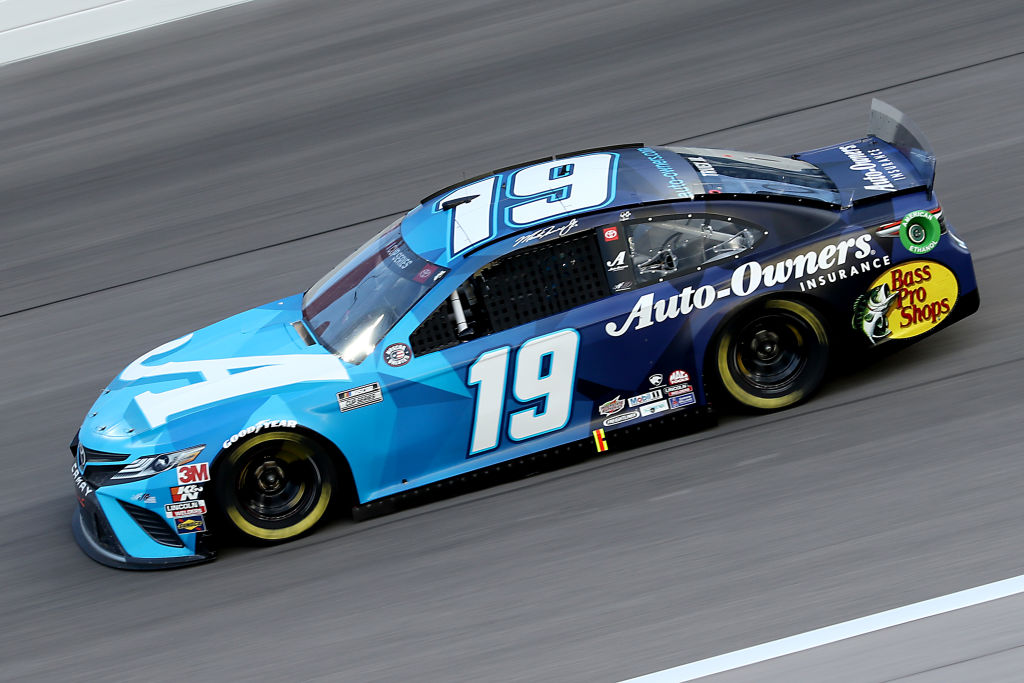 KANSAS CITY, KANSAS - JULY 23: Martin Truex Jr., driver of the #19 Auto Owner's Insurance Toyota, drives during the NASCAR Cup Series Super Start Batteries 400 Presented by O'Reilly Auto Parts at Kansas Speedway on July 23, 2020 in Kansas City, Kansas. (Photo by Jamie Squire/Getty Images)   Getty Images