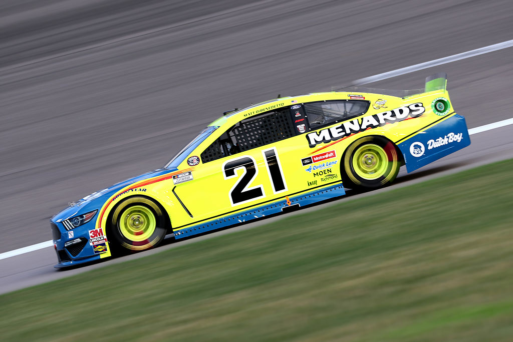 KANSAS CITY, KANSAS - JULY 23: Matt DiBenedetto, driver of the #21 Menards/Dutch Boy Ford, drives during the NASCAR Cup Series Super Start Batteries 400 Presented by O'Reilly Auto Parts at Kansas Speedway on July 23, 2020 in Kansas City, Kansas. (Photo by Jamie Squire/Getty Images) | Getty Images