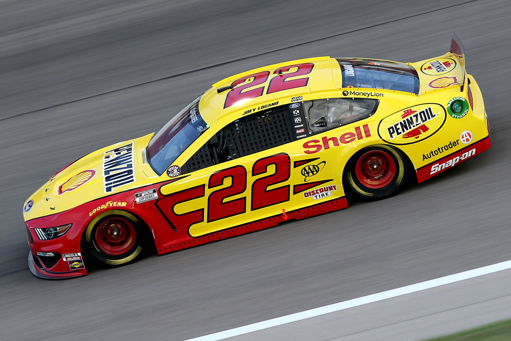 KANSAS CITY, KANSAS - JULY 23: Joey Logano, driver of the #22 Shell Pennzoil Ford, drives during the NASCAR Cup Series Super Start Batteries 400 Presented by O'Reilly Auto Parts at Kansas Speedway on July 23, 2020 in Kansas City, Kansas. (Photo by Jamie Squire/Getty Images) | Getty Images