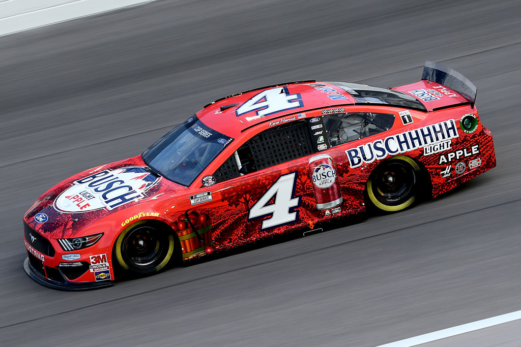 KANSAS CITY, KANSAS - JULY 23: Kevin Harvick, driver of the #4 Busch Light Apple Ford, drives during the NASCAR Cup Series Super Start Batteries 400 Presented by O'Reilly Auto Parts at Kansas Speedway on July 23, 2020 in Kansas City, Kansas. (Photo by Jamie Squire/Getty Images) | Getty Images