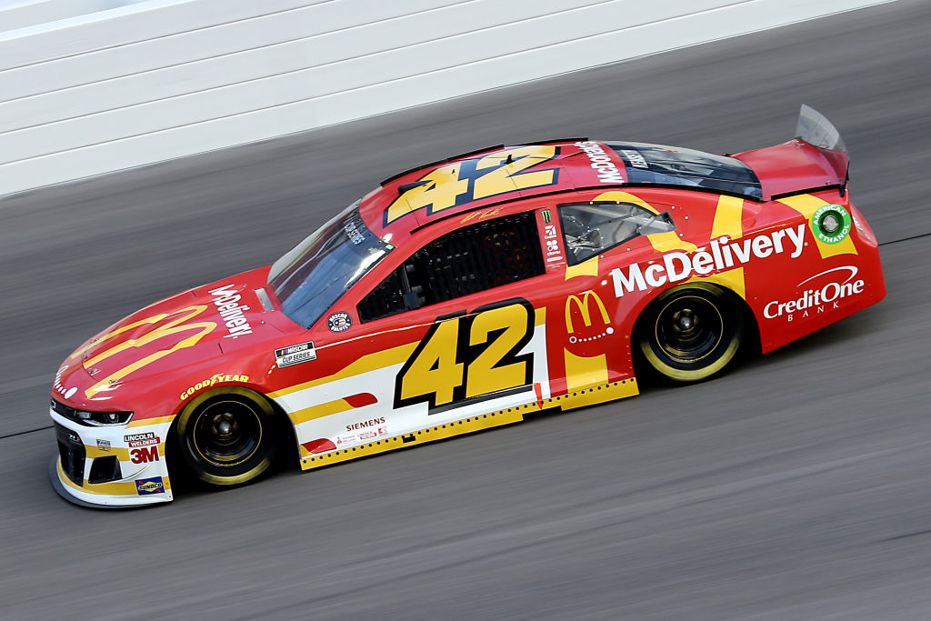KANSAS CITY, KANSAS - JULY 23: Matt Kenseth, driver of the #42 McDelivery Chevrolet, drives during the NASCAR Cup Series Super Start Batteries 400 Presented by O'Reilly Auto Parts at Kansas Speedway on July 23, 2020 in Kansas City, Kansas. (Photo by Jamie Squire/Getty Images)   Getty Images