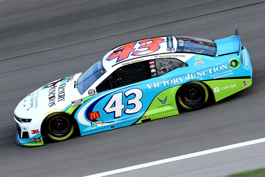 KANSAS CITY, KANSAS - JULY 23: Bubba Wallace, driver of the #43 Victory Junction Chevrolet, drives during the NASCAR Cup Series Super Start Batteries 400 Presented by O'Reilly Auto Parts at Kansas Speedway on July 23, 2020 in Kansas City, Kansas. (Photo by Jamie Squire/Getty Images) | Getty Images