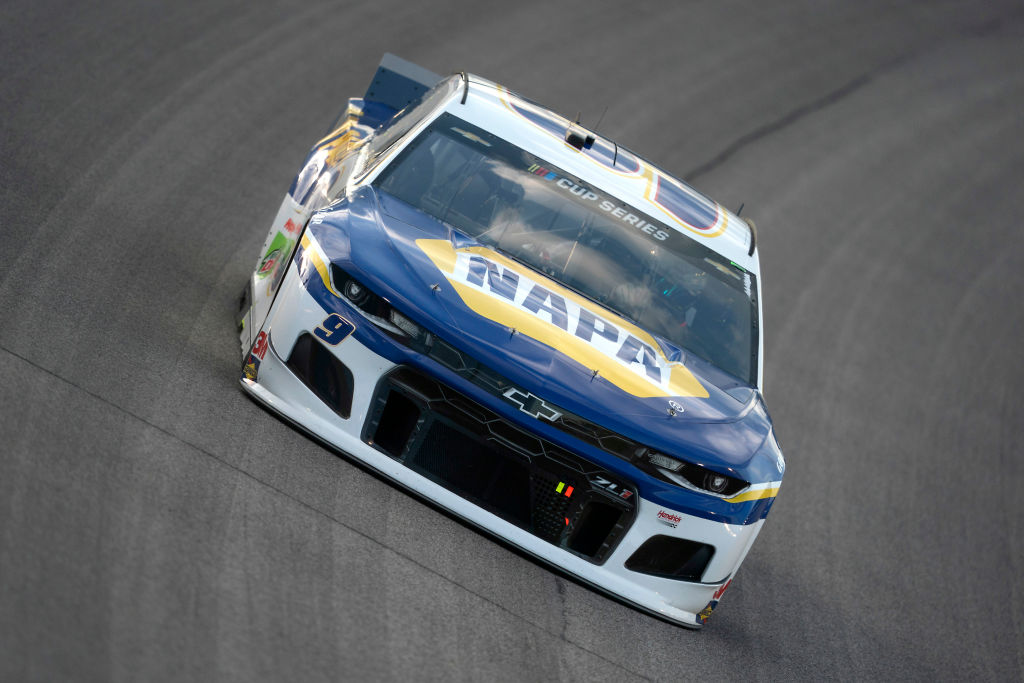 KANSAS CITY, KANSAS - JULY 23: Chase Elliott, driver of the #9 NAPA Auto Parts Chevrolet, drives during the NASCAR Cup Series Super Start Batteries 400 Presented by O'Reilly Auto Parts at Kansas Speedway on July 23, 2020 in Kansas City, Kansas. (Photo by Kyle Rivas/Getty Images) | Getty Images