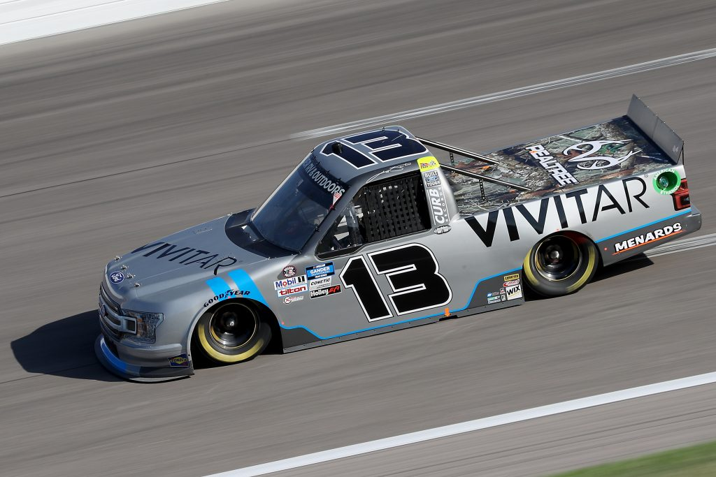 KANSAS CITY, KANSAS - JULY 24: Johnny Sauter, driver of the #13 Vivitar Ford, drives during the NASCAR Gander RV & Outdoors Truck Series Kansas 200 at Kansas Speedway on July 24, 2020 in Kansas City, Kansas. (Photo by Jamie Squire/Getty Images) | Getty Images