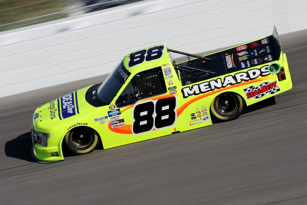 KANSAS CITY, KANSAS - JULY 24: Matt Crafton, driver of the #88 Ideal Door/Menards Ford, drives during the NASCAR Gander RV & Outdoors Truck Series Kansas 200 at Kansas Speedway on July 24, 2020 in Kansas City, Kansas. (Photo by Jamie Squire/Getty Images) | Getty Images