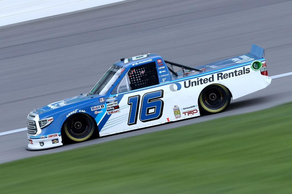 KANSAS CITY, KANSAS - JULY 24: Austin Hill, driver of the #16 United Rentals Toyota, drives during the NASCAR Gander RV & Outdoors Truck Series Kansas 200 at Kansas Speedway on July 24, 2020 in Kansas City, Kansas. (Photo by Jamie Squire/Getty Images) | Getty Images