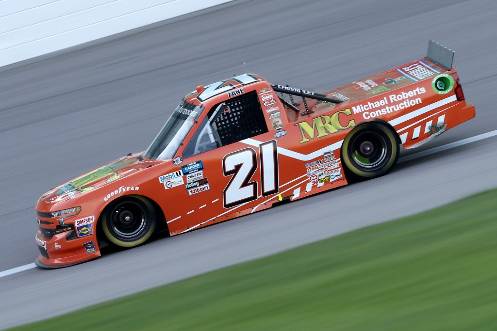 KANSAS CITY, KANSAS - JULY 24: Zane Smith, driver of the #21 MRC Construction Chevrolet, drives during the NASCAR Gander RV & Outdoors Truck Series Kansas 200 at Kansas Speedway on July 24, 2020 in Kansas City, Kansas. (Photo by Jamie Squire/Getty Images) | Getty Images