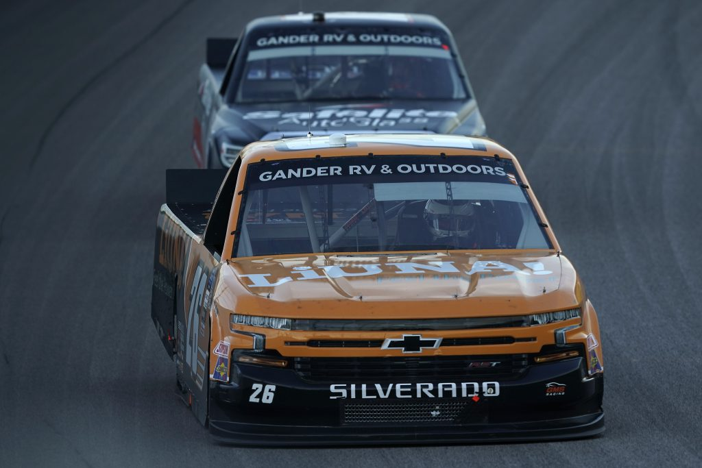 KANSAS CITY, KANSAS - JULY 24: Tyler Ankrum, driver of the #26 Liuna! Chevrolet, drives during the NASCAR Gander RV & Outdoors Truck Series Kansas 200 at Kansas Speedway on July 24, 2020 in Kansas City, Kansas. (Photo by Kyle Rivas/Getty Images) | Getty Images