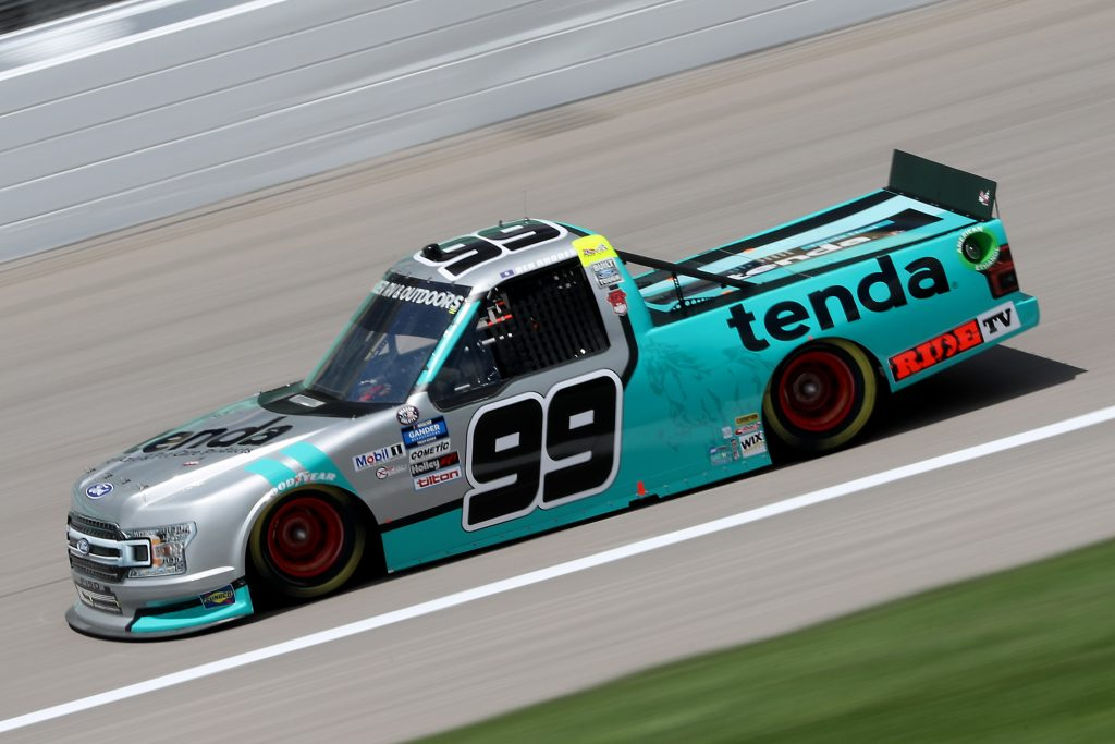KANSAS CITY, KANSAS - JULY 25: Ben Rhodes, driver of the #99 Tenda Heal Ford, drives during the NASCAR Gander RV & Outdoors Truck Series e.p.t 200 at Kansas Speedway on July 25, 2020 in Kansas City, Kansas. (Photo by Jamie Squire/Getty Images) | Getty Images